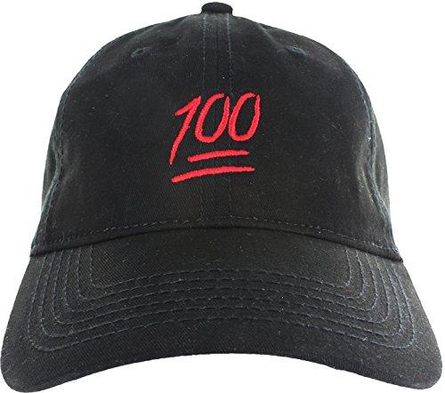 299dea1c25c Dad Hat Cap – Emoji 100 Hundred Embroidered Adjustable Black ...