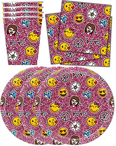 Girl Emoji Pink Sparkle Birthday Party Supplies Set