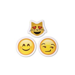15 Unique Emoji Stickers | Each Over 2″ | Variety of Emojis | Set #2: Heart Eyes, Faces, Poo & More (Set 2)