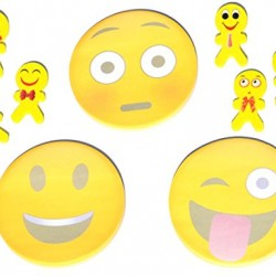 9 Piece Fun Back to School Emoji Sticky Note Notebook Notepad and Eraser Set for Kids Adults Teachers (Style2)