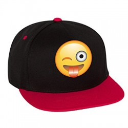Allntrends Flat Bill Cap Winking Emoji Hat (Black Red)