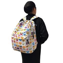 Amashz women Canvas Backpacks Smiley Emoji Face Printing Pretty School Bag Mochila