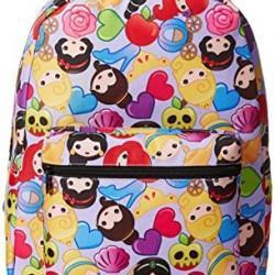 Disney Little Girls Princess Emoji Print Backpack, Purple, One Size