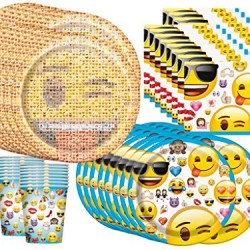 Emoji Birthday Party Supplies Bundle Pack for 16