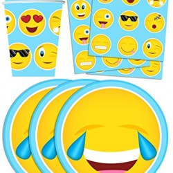 Emoji Birthday Party Supplies Set Plates Napkins Cups Tableware Kit for 16