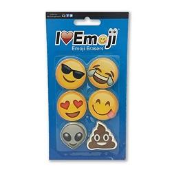 Emoji Eraser: Smile, Heart Eyes, Sunglasses, Poo: Variety 6-Pack (Set #2)