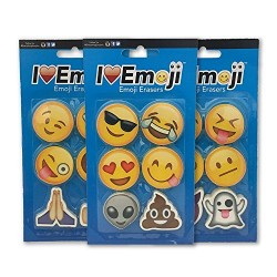 Emoji Erasers: Smile, Alien, Poo, Ghost, More: 3-Pack: 18 Total Erasers
