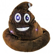 Emoji Light Up Poop Hat Plush Emoticon Head Wear 12 Inches High