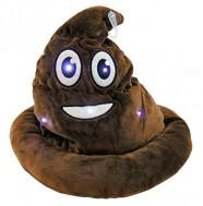 Emoji Light Up Poop Hat Plush Emoticon Head Wear 12 Inches High
