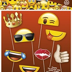 Emoji Photo Booth Props, 8pc (Discontinued by manufacturer)