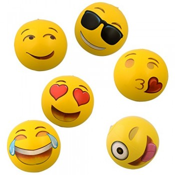 Emoji-Universe-12-Emoji-Inflatable-Beach-Balls-12-Pack-0