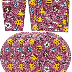 Girl Emoji Pink Sparkle Birthday Party Supplies Set Plates Napkins Cups Tableware Kit for 16