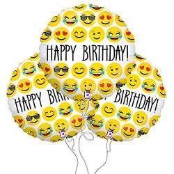 Happy Birthday Emoji Mylar Balloon 3 Pack