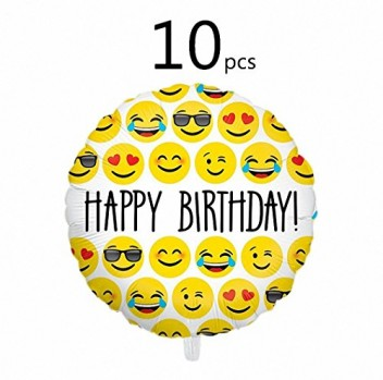 Ivenf-18-Mylar-Emoji-Happy-Birthday-Party-Balloons-Party-Supplies-10-Pack-Set-0