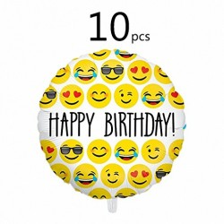 Ivenf 18″ Mylar Emoji Happy Birthday Party Balloons Party Supplies, 10 Pack Set