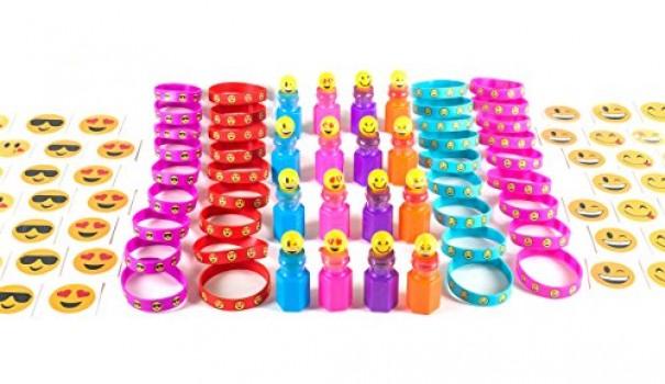 KidzWhizz-84-Piece-Mega-Emoji-Party-Supplies-Emoticon-Smile-Toy-Novelty-Party-Favor-Assortment-24-Emoji-Smile-Bubble-Bottles-24-Silicone-Emoji-Smile-Bracelets-36-Emoji-Smile-Temporary-Tattoos-0