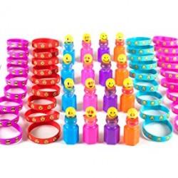KidzWhizz 84 Piece Mega Emoji Party Supplies Emoticon Smile Toy Novelty Party Favor Assortment; 24 Emoji Smile Bubble Bottles; 24 Silicone Emoji Smile Bracelets; 36 Emoji Smile Temporary Tattoos