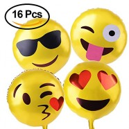 Kuuqa 18″ Reusable Emoji Mylar Party Balloons Emoji Balloons Emoji Party Supplies 16pcs