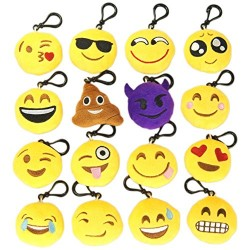 MelonBoat 16 Pack Emoji Mini Plush Pillows, Keychain Decorations, Kids Party Supplies Favors, 2″ Set of 16