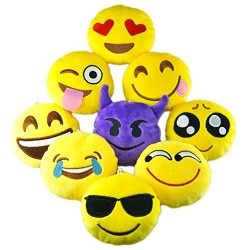 MelonBoat 4-Inch Emoji Plush Pillow (Set of 9)