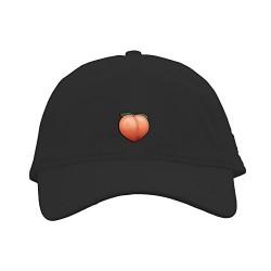 Peach Emoji Hat, Strap Back Cap, Sweet & Juicy,- Adjustable, Dope,Embroidered (Black)