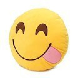 Round Oi Emoji Smiley Emoticon Cushion Pillow Stuffed Plush Toy Doll Yellow(glutton+free Yiwa Gifts) Model: